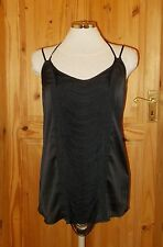 KARDASHIAN KOLLECTION black satin fringe camisole vest tunic top party BNWT L
