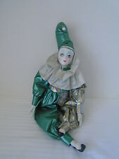 VINTAGE AMCI  PORCELAIN GREEN MUSICAL PIERROT/ CLOWN  DOLL