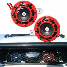 2PC Red Loud Compact Electric Blast Super Tone Hella Horn For CAR/TRUCK 12V