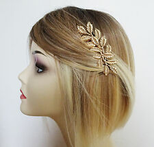 Beautiful Gold Tone Leaf Design Hair Comb Slide 9 cm