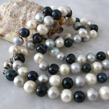 "34"" 7-9mm White Gray Black Freshwater Pearl Necklace"