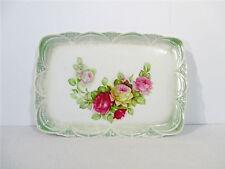 Platter Vanity Tray Vintage Porcelain Rose Flower Green Scalloped Edge Victorian