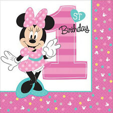 MINNIE MOUSE Fun to Be One LUNCH NAPKINS (16) ~ 1st Birthday Party Supplies Pink
