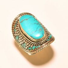 TIBETAN EXQUISITE TRIBAL VINTAGE STYLE SILVER TURQUOISE JEWELRY RING SIZE 9