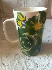 Starbucks Coffee Mug / Cup 2014 White Porcelain Large Flowers green/blue/yellow