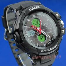 OHSEN Men LCD Analog Dual Core Red Sport Date Day Stopwatch Rubber Watch