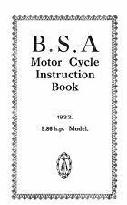 1932 BSA 9.86 h.p.'V' Twin instruction book