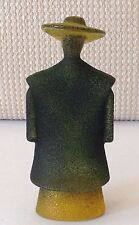 K Engman Kosta Boda Sweden Art Glass Sculpture GREEN PONCHO CATWALK MAN Signed
