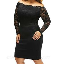 Womens off shoulder stretchy long sleeve party prom lace dress Plus Size 14