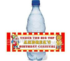CIRCUS BIG TOP CARNIVAL Birthday Party personalized water bottle label wrapper