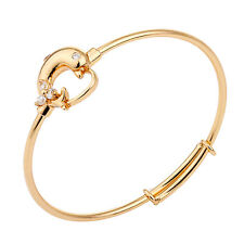 18K Yellow Gold Filled Cuff Bangle Dolphin With Mini CZ For Toddler Baby Jewelry