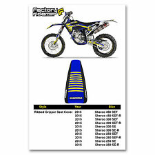 2015 SHERCO Black/Blue/Yellow RIBBED GRIPPER SEAT COVER BY Enjoy MFG