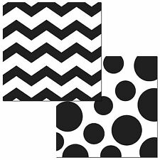 "16 Black White Polka Dot Chevron ZigZag Party 6.5"" Paper Lunch Napkins"