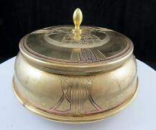 "ART NOUVEAU BRASS FLORAL & DUTCH HOLLAND DANCERS 6.5"" LIDDED DISH & GLASS INSERT"