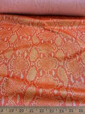 "Orange Snake Skin With Silver Foil 4 Way Stretch Poly Lycra Fabric 58"" W BTY"