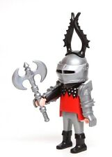 Playmobil Figure Castle Wolf Silver Knight Spiked Helmet Shield Double Axe 5785