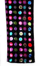 SCARF Red Violet Fuchsia Pink Turquoise Olive On Black Background ABSTRACT DOTS