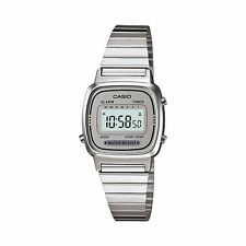 LA670WA-7D Silver White Casio Stainless Steel Band Watch Lady Stopwatch 670WA