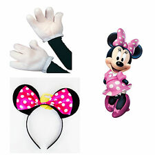 Minnie Mouse Fancy Dress Costume Accessories Hot Pink Ears White Gloves Ladies