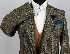 Harris Tweed Blazer WINDOWPANE WEDDING paese 38R SUPERBA indumento 290