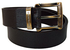 NEW Mont Blanc Casual Line Bronze coated Men's Brown Leather Wide Belt 109773