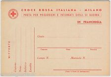 ITALY - POSTAL HISTORY: Fiel card from ITALIAN RED CROSS  for POW  - WWI