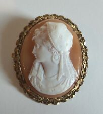 BEAUTIFUL VICTORIAN PERIOD VERMEIL MOUNTED SHELL CAMEO BROOCH, c. 1900
