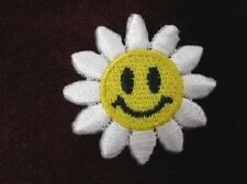 Daisy Smiley Happy Face Embroidered Iron On Patch