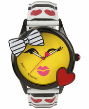 NWT BETSEY JOHNSON WATCH Women's Heart Stripe Super Star Smiling Emoji BJ00610