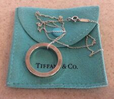 Tiffany & Co. Sterling Silver X LARGE 1837 Charm Round Circle Necklace Ring Sz 9