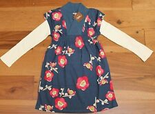 NEW Tea Collection NARI DRESS sz 5 Girls Faux Layer Long Sleeve Blue Big Flower