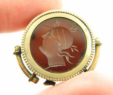 Antique Gold Filled Pocket Watch Roman Intaglio Carnelian Chain Fob Pendant Part