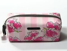 VICTORIA'S SECRET STRIPED COSMETIC MAKEUP BAG CASE FLORAL NWT