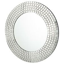 Modern Moroccan Style Round Silver Mosaic Mirror Bathroom/Living Room