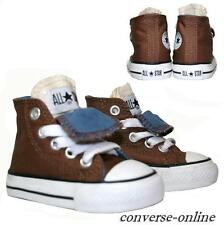 BABY Boys Kid CONVERSE All Star BROWN DOUBLE TONGUE HI TOP Trainers 19 UK SIZE 3