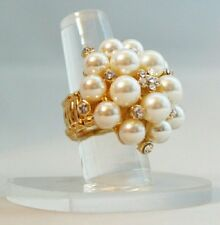 """Faux Pearl Crystal Cluster Gold Plated 1.5"""" Stretch Band Cocktail Ring Gift"""