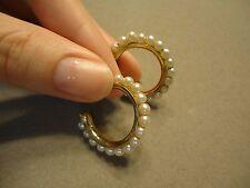 Vintage Creamy Pearl Studded Elegant Hoop Post Earrings