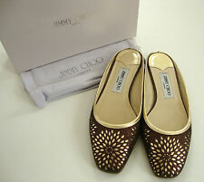 Authentic JIMMY CHOO MAYA Glitter Bronze CUT OUT Slides Flats Shoes 39 US-8