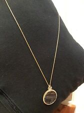 Vintage Gold Tone Magnifying Glass Pendant Necklace