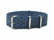 HNS Zulu 18/20/22 Double Graphic Printed Indigo Sashiko Waves Nylon Watch Strap