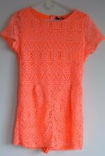New $130 Romeo and Juliet Couture Coral Orange Neon Lace Jumper Romper M 4 6