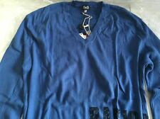 DOLCE & GABBANA BLUE COTTON V-NECK GRAPHIC DETAIL SLIM FIT SWEATER SIZE XL