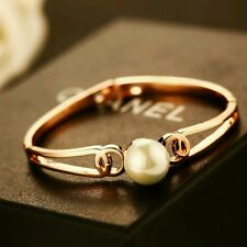 18K CT Rose Gold Filled Pearl Bangle Bracelet / SWAROVSKI ELEMENTS CRYSTALS