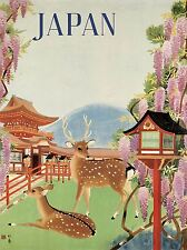 TRAVEL TOURISM JAPAN DEER BLOSSOM PAGODA TEMPLE MOUNTAIN LANTERN POSTER LV4196