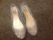 Vivienne Westwood Melissa Silver Glitter Lace Ballerina Jelly Shoes size 38UK 5