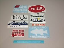 Bundle 13 fishing decal stickers tackle rod lure fish on Lamiglas abu garcia #13