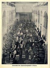 Innenansicht eines Feigenversandes in Smyrna Historische Aufnahme von 1910