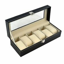 Jewelry Case Organizer Watch Box 6 Slots Mens Black Leather Display Acrylic Top
