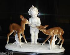 Alte Gräfenthal Thüringen Porzellan Figur Figuren Junge mit 2 Rehe