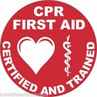 """CPR FIRST AID CERTIFIED & TRAINED 2"""" Hard Hat Sticker Safety Decal FREE SHIPPING"""